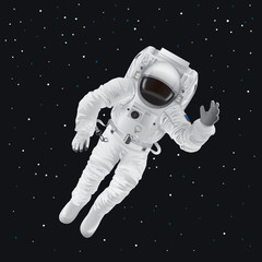 Spaceman in Pressure Suit out in Space among Stars