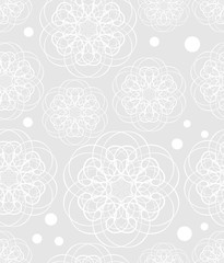 Doodle flower motif, low contrasting white drawing on light gray background, seamless patterns, textile sampler, fabric design, elegant