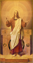 PARMA, ITALY - APRIL 16, 2018:  The painting of Sacred Heart of resurrected Jesus in church Chiesa di San Benetetto by Pietro Dalle Ceste (1939).
