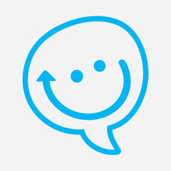 chat icon blue smiley dialog box with mouth in the form of an arrow Companionship concept icon reminiscent pleasure of communication Silhouette symbol emblem pictogram Vector isolated illustration.