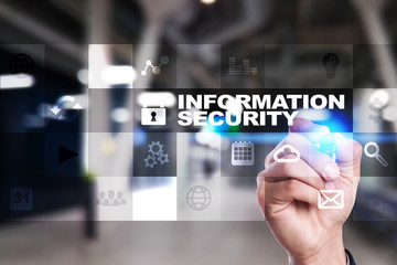 Information security and data protection concept on the virtual screen.