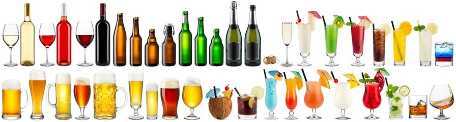 huge collection set of beverage alcoholic drinks cocktails champagne wine beer bottle glass isolated on white background