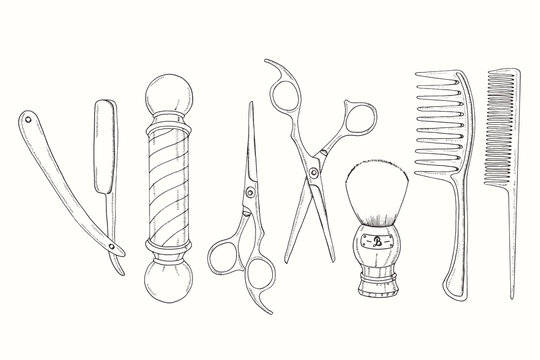Hand drawn Barber Shop set in sketch style. Razor, scissors, shaving brush,  comb, classic barber shop Pole. Vector illustration