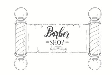 Hand drawn vintage signboard with classic Barber shop Pole and hand made lettering. Logo for Barber shop