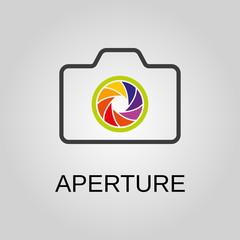 Aperture icon. Aperture symbol. Flat design. Stock - Vector illustration