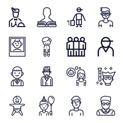 Set of 16 boy outline icons