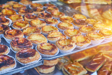 Traditional Portuguese dessert, pastel de nata on a tray