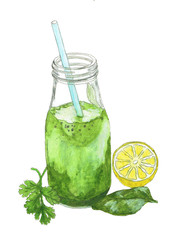 Watercolor illustration of green smoothie. Hand drawn healthy drink. Isolated on white background.