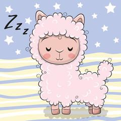 Cute Cartoon Sleeping Alpaca on striped background