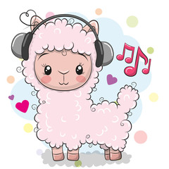 Alpaca with headphones on a white background