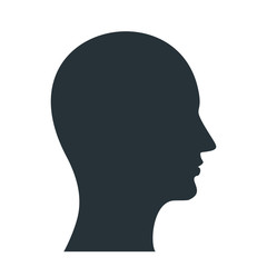 The human profile. The black silhouette of the man is drawn by one line. Flat vector cartoon illustration. Objects isolated on white background.