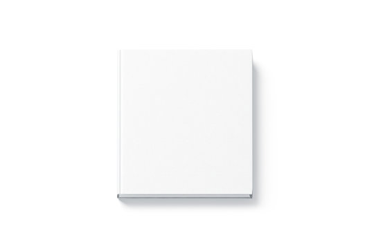 Blank white square hardback book mock up, top view, isolated. Empty notebook hard cover mockup. Bookstore booklet branding template.