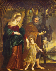 Fototapete - REGGIO EMILIA, ITALY - APRIL 13, 2018: The painting of Flight of Holy Family to Egypt in church Chiesa di Santo Stefano by unknown regional painter from 17. cent..