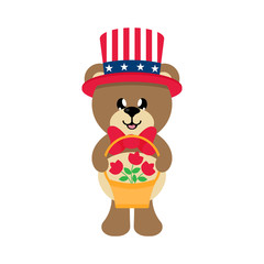 4 july cartoon cute bear in hat with basket and flowers