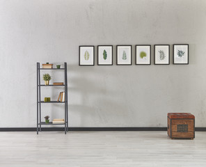 decorative frame and bookcase wall background decor grey details.