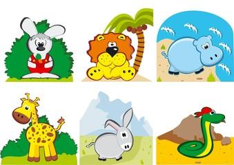 Vector illustration of funny  cartoon animals
