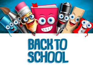 School vector characters education background template. Back to school text in empty white space and funny cartoon mascots elements. Vector illustration.
