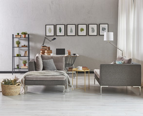 grey details living room with desk and laptop style.