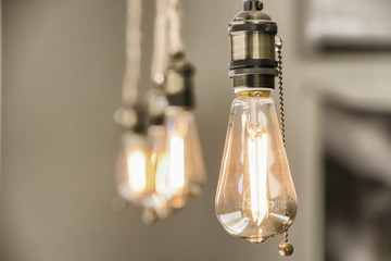 Group of Decorative edison style light bulbs.Beautiful retro light lamp decor glowing film effect.