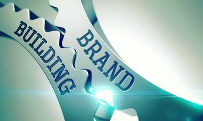 Brand Building - Mechanism of Metal Cog Gears. 3D.