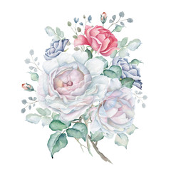 Watercolor Floral Bouquet with Roses