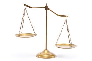 Gold brass balance scale