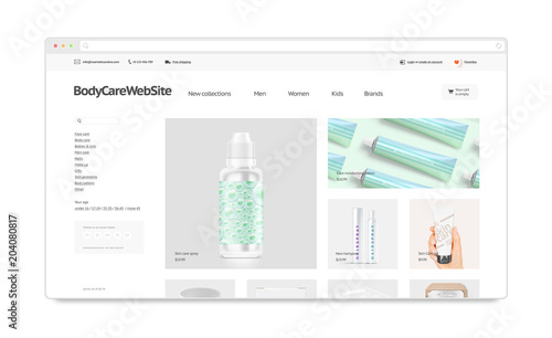 Cosmetics webstore site template mockup isolated, 3d illustration ...