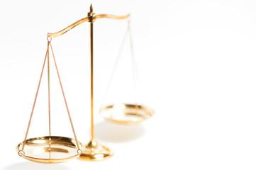 Golden brass balance scale