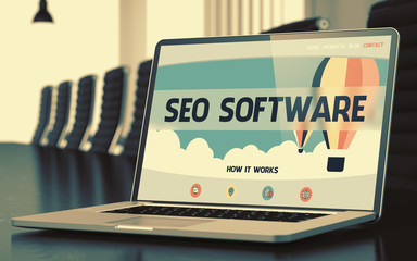 SEO Software on Laptop in Conference Room.