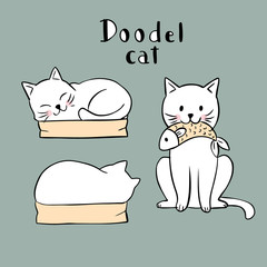 Cartoon cute actions white cat in box and fish vector.