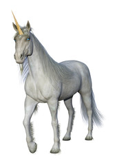 3D Rendering Fairy Tale White Unicorn on White