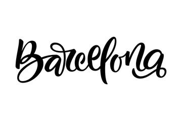 Handwritten city name. Hand-lettering calligraphy. Barcelona.