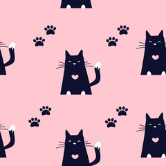 Cute pattern with black cats and traces of paws on pink background. Ornament for textile and wrapping. Vector.