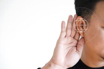 Young man hearing loss  sound waves simulation technology Hear