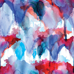 Red and blue seamless pattern watercolor blots on white background
