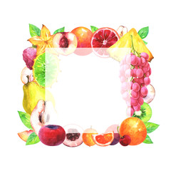 Hand painted square fruit frame. Watercolor pineapple, horned melon, grapes, velvet apple, ximenia, nectarine, quince, cherry, mandarin, blood orange, kiwi, carambola, pear, leafs on white background