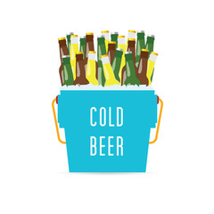 cold beer in the bucket illustration