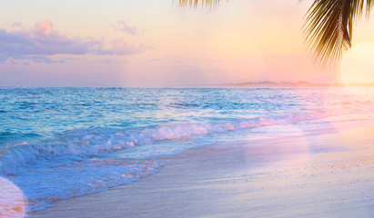 Art Summer vacation drims; Beautiful sunset over the tropical beach
