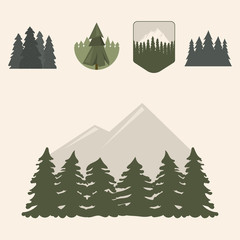 Tree outdoor travel pine silhouette coniferous natural tops pine spruce branch cedar plant leaf stem drawing vector illustration.