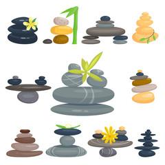 Pyramid from sea pebble relax heap stones healthy wellness black massage meditation natural tool spa balance therapy zen vector illustration.