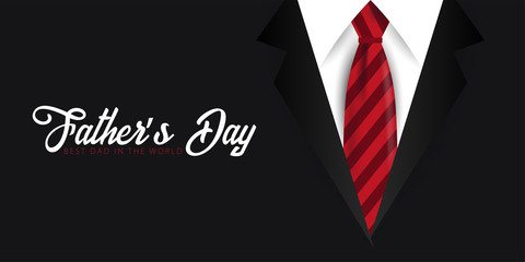 Father's Day banner, greeting card with necktie. Vector Illustration