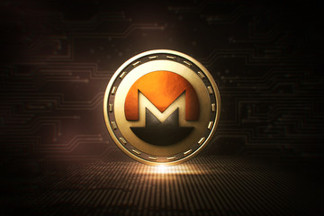 Monero - XMR - 3D Cryptocurrency Coin  - Front View