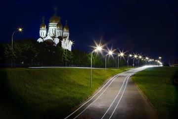 Savior Transfiguration Cathedral in Togliatti, Russia, Volga River.