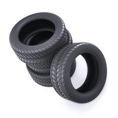 Stack of car tires on white background. The view from the top. 3d illustration