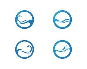 Waves of sea or ocean waves, blue water, splash and gale, vector illustration