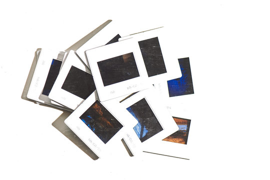 Some old color slides on a white background