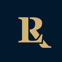 Creative elegant line curve vector logotype. Premium letter LR or RL logo design. Luxury linear creative monogram.