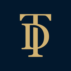 Creative elegant line curve vector logotype. Premium letter TD or DT logo design. Luxury linear creative monogram.