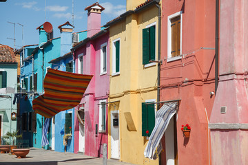 View of traditional colorful houses of Burano. Venice