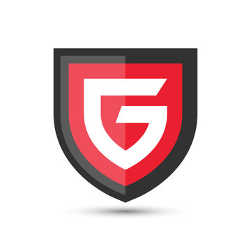 Letter G Protect Shield Logo Icon Template. Vector Emblem. Abstract symbol of security.